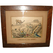 "Antique 1885 Currier & Ives ""Wrecked by a Cow Catcher"" Print BLACK AMERICANA Large F"