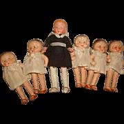 SOLD Vintage DIONNE QUINTUPLETS & Nanny Nurse DOLLS Set ~ c1940 Made in Japan Bisque Quints