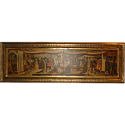 "SOLD ITALIAN FLORENTINE Tole Wood PLAQUE with Gilt Frame & Art Print ~ (33"" x 10.5"""