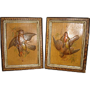PAIR Hunting GAME BIRD Embossed Art Prints in 1890's Victorian Eastlake Faux Marble Picture ..