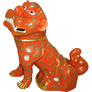 """Vintage HEREND Porcelain FOO DOG Large 10"""" Red Dynasty Godollo 24K Gold Trim Figurine"""