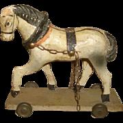 SALE Antique German HORSE Pull Toy Original Paint Papier Mache Putz Legs 19c Folk Art