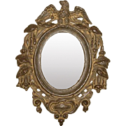 Antique Victorian EAGLE Top Cast Iron Mirror Picture Frame