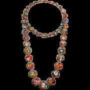 """SALE Art Deco Venetian MURANO Moretti MILLEFIORI Glass Bead Necklace 28"""" Vintage 1920's"""