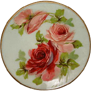 """SALE Victorian Mt Washington Hand Painted ROSES Satin Glass Plate ~ 10"""""""