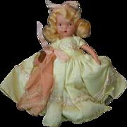 "NASB NANCY ANN Storybook Doll #182 Wednesday's Child ~ Yellow Taffeta Dress 5-1/2"" Bisque"