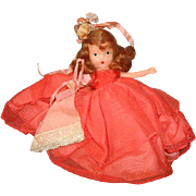 "NASB NANCY ANN Storybook Doll ~ #182 Wednesday's Child ~ Coral / Orange Organza Dress ~ 5-1/2"""
