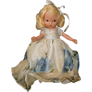 "NASB NANCY ANN Storybook Doll Season Series #91 Summer ~ Blue Rose Organza Dress ~ 5-1/2"""