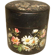 SALE PENDING Antique Aesthetic Hand Painted Papier Mache BOX with DAISIES