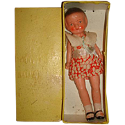 """1940s Bisque 8"""" PATSY TYPE Doll in Perfection Brand Box made in Japan"""