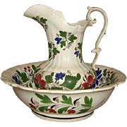 SALE 19th Century Staffordshire Early Adams Rose PITCHER & BOWL Wash Set ~ Spatter Ware