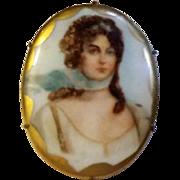 Enameled VICTORIAN Transfer QUEEN LOUISE Porcelain Portrait Pin