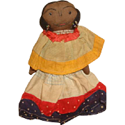 """c1940 SEMINOLE AMERICAN INDIAN Cloth Rag Doll with Embroidered Face ~ 6-1/2"""" Tall"""