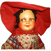"""SOLD Vintage 1940's Silk Novelty Corp FRENCH Character DOLL 16"""" with Wrist Tag ~ EXCELLEN"""
