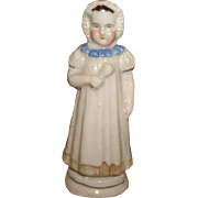 Antique 19c Staffordshire Pottery Figural Whistle CHILD BABY DOLL Toy
