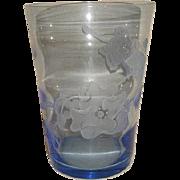 Vintage Mid Century Blue TIFFIN Glass Swedish Optic SAND CARVED Floral Vase