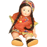 "Vintage Vogue TODDLES American INDIAN DOLL ~ 1943 Pre Ginny American Series 8"" Compositio"