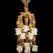 "Vintage CROWN TRIFARI Faux White Coral Seashells Chandelier 5"" LONG RUNWAY Pendant Neckla"