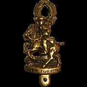 Vintage Door Knocker English Highwayman Dick Turpin on Horse ~ Solid Brass Doorknocker