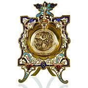 SOLD Antique French Champleve Enamel & Gilt Brass Pocket Watch Stand Holder