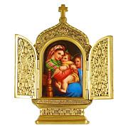 SOLD Antique Miniature Porcelain Plaque of the Raphael Madonna della Sedia in Gilt Bronze Fram