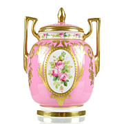 SOLD Minton Hand Painted Rose Pink Porcelain Vase with Raised Gold Gilding