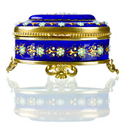 SOLD Antique French Enamel Cobalt Blue Jewelry Casket with Jeweled Beading & Gilt Bronze Mount