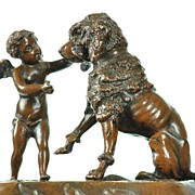 SOLD Antique French Figural Encrier Inkwell with Dog & Cherub Signed Vidal