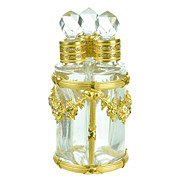 SOLD Antique French Crystal & Gilt Bronze Scent Caddy, Etui