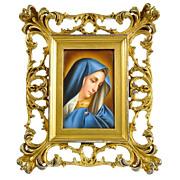 SOLD Antique Hand Painted Porcelain Plaque of Madonna in Gilt Wood Frame