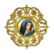 SOLD Antique Miniature Porcelain Plaque of Madonna in Gilt Bronze Frame