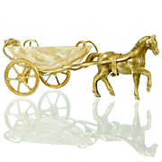SOLD Antique French Palais Royal Mother of Pearl & Ormolu Pony Cart Thimble Holder