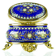 SOLD Antique French Enamel Jewelry Box with Jeweled Beading - Cobalt Blue