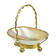 SOLD Antique French Palais Royal Miniature Basket Thimble Holder Mother of Pearl & Ormolu
