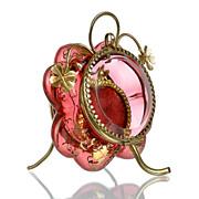 SOLD Antique Cranberry Glass Pocket Watch Holder Casket Box