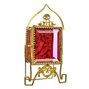 SOLD Antique French Cranberry Glass & Gilt Ormolu Pocket Watch Holder Vitrine Box Napoleon III