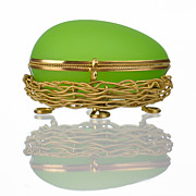 SOLD Antique French Palais Royal Green Opaline Egg in Nest Casket with Dore Bronze Mounts