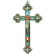 SOLD Antique Italian Grand Tour Micro Mosaic Cross - Roman Micromosaic Crucifix with Christ Fi