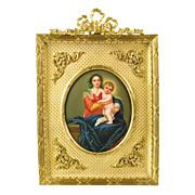 SOLD Antique Miniature Painting Madonna and Child - Firenze Porcelain Plaque - Gilt Ormolu Fra