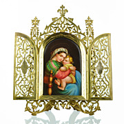 SOLD Antique Miniature Painting on Porcelain of Raphael's Madonna of the Chair - Gilt Metal Fr