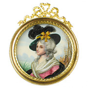 Antique French Hand Painted Portrait Miniature of Sarah Siddons - Dore Bronze Frame - Artist S