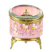 Antique French Rose Opaline Glass Pocket Watch Holder Stand Casket Box - Hand Painted Enamel