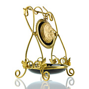 SOLD Antique French Palais Royal Pocket Watch Holder Display Stand - Black Amethyst Enameled G