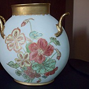 Large Limoges Hand Painted  Flower Pillow Vase,Dated 1891