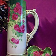 Vintage Bavaria Hand Painted Roses Tankard Pitcher Tray Set, Artist Signed