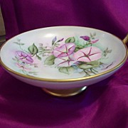 SALE Prussia Hand Painted Footed Petunia Compote Dish Bowl, Ca1902-1930