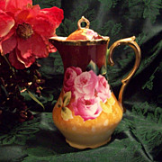 "SALE Fabulous Bavaria Germany  Hand Painted Rose Chocolate /Coffee Pot, ""American Beauty"""