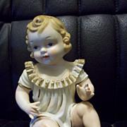 Vintage Adorable German Baby Piano Bisque Figurine Figure