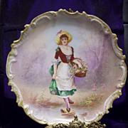 SALE Large Limoges Hand Painted Portrait  Scenic  Charger Plaque Plate