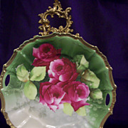 Vintage Bavaria Hand Painted  Rose Cake Plate ,Artist Signed, Ca Early 1900's